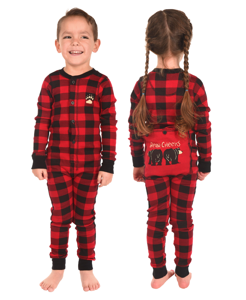 Plaid Bear Cheeks Flapjacks - Kids Onesie Pyjamas - LazyOne®